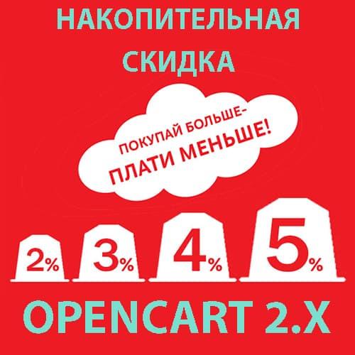 Модуль накопительная скидка для покупателей для Opencart 2.1 [OCMOD]