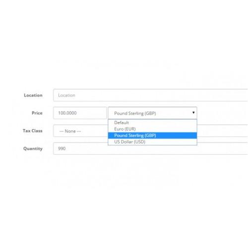 Модуль привязки разных валют к товару для Opencart 2.x [OCMOD]