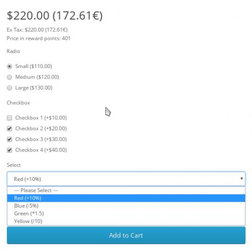 Автоматическое обновление цены при выборе опции - Opencart 3.x [OCMOD]